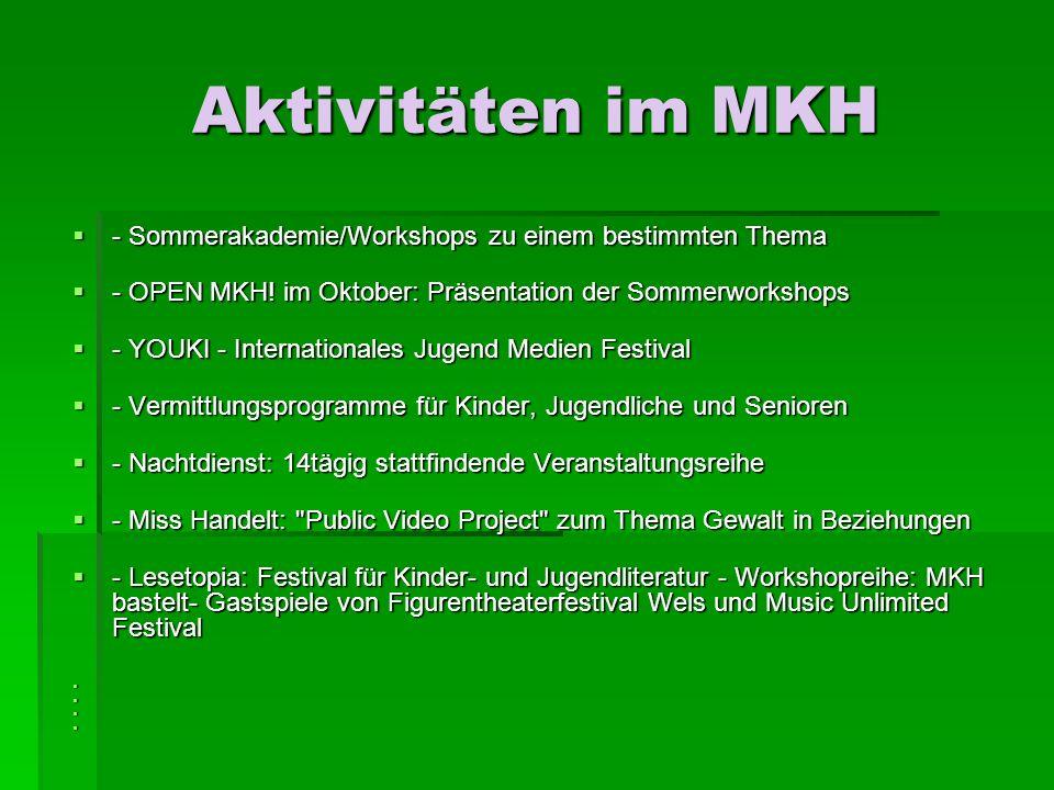 Aktivitäten im MKH - Sommerakademie/Workshops zu einem bestimmten Thema - Sommerakademie/Workshops zu einem bestimmten Thema - OPEN MKH.