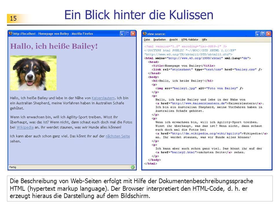 15 Ein Blick hinter die Kulissen Die Beschreibung von Web-Seiten erfolgt mit Hilfe der Dokumentenbeschreibungssprache HTML (hypertext markup language)
