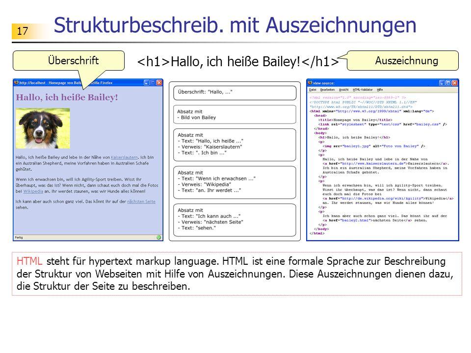 17 Strukturbeschreib. mit Auszeichnungen Hallo, ich heiße Bailey! HTML steht für hypertext markup language. HTML ist eine formale Sprache zur Beschrei