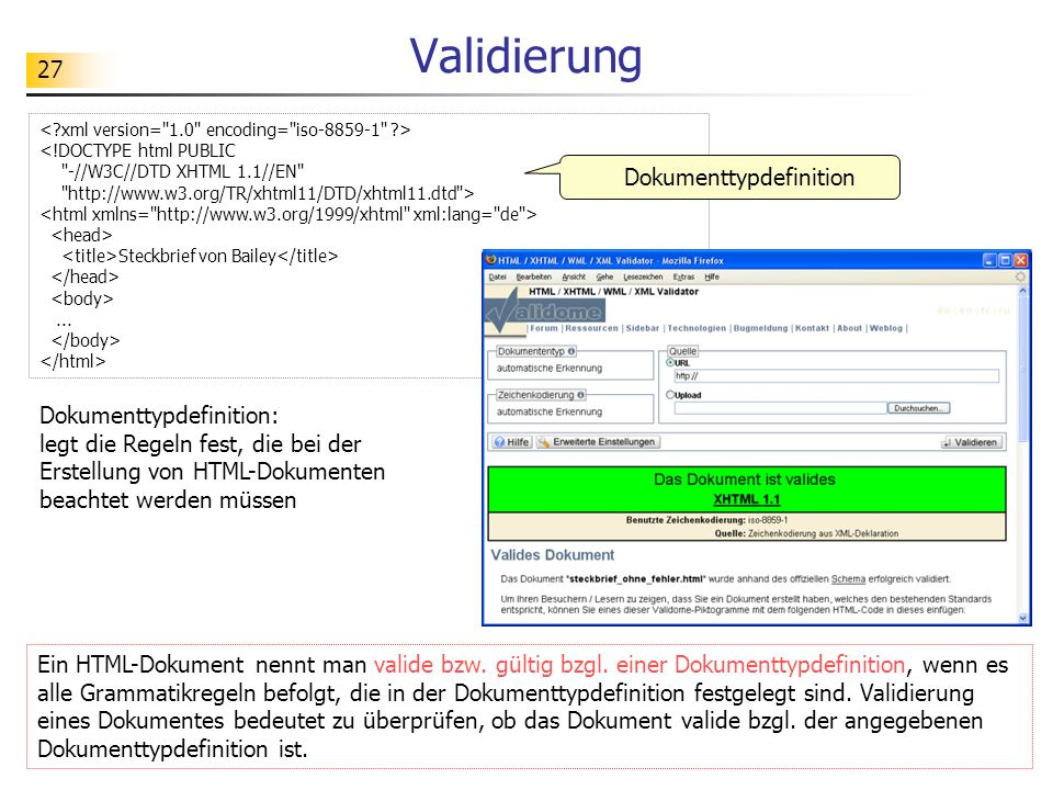 27 Validierung <!DOCTYPE html PUBLIC
