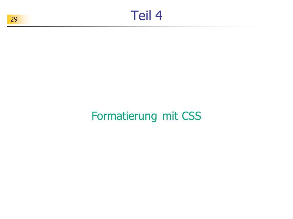 29 Teil 4 Formatierung mit CSS