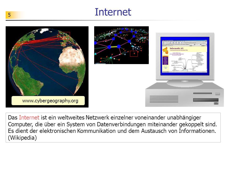5 Internet Das Internet ist ein weltweites Netzwerk einzelner voneinander unabhängiger Computer, die über ein System von Datenverbindungen miteinander