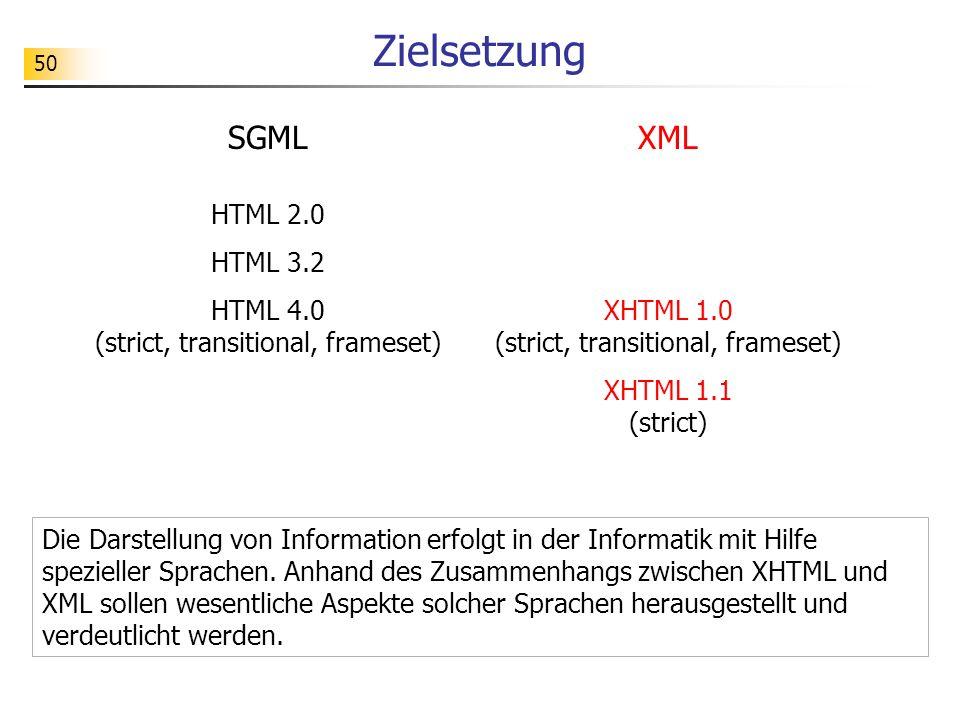 50 Zielsetzung Die Darstellung von Information erfolgt in der Informatik mit Hilfe spezieller Sprachen. Anhand des Zusammenhangs zwischen XHTML und XM