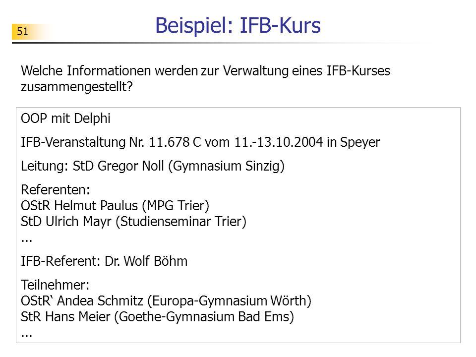 51 Beispiel: IFB-Kurs Welche Informationen werden zur Verwaltung eines IFB-Kurses zusammengestellt? OOP mit Delphi IFB-Veranstaltung Nr. 11.678 C vom