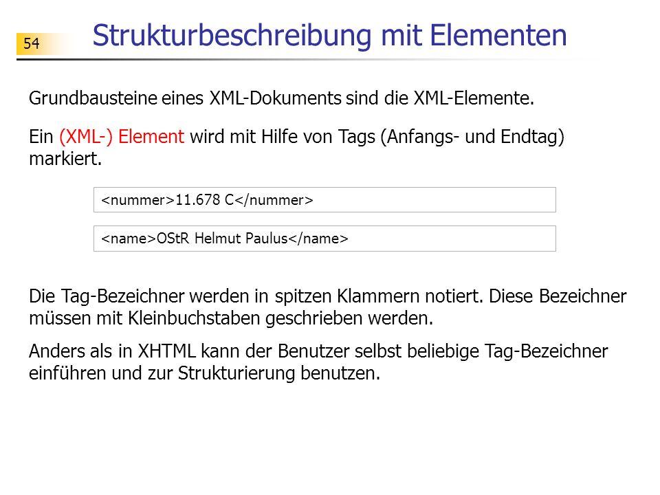 54 Strukturbeschreibung mit Elementen Ein (XML-) Element wird mit Hilfe von Tags (Anfangs- und Endtag) markiert. 11.678 C OStR Helmut Paulus Die Tag-B