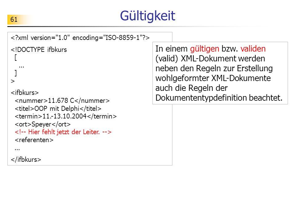 61 Gültigkeit 11.678 C OOP mit Delphi 11.-13.10.2004 Speyer... In einem gültigen bzw. validen (valid) XML-Dokument werden neben den Regeln zur Erstell
