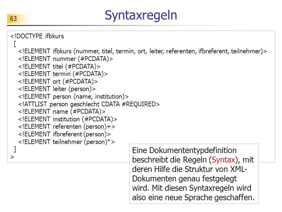 63 ] > Syntaxregeln Eine Dokumententypdefinition beschreibt die Regeln (Syntax), mit deren Hilfe die Struktur von XML- Dokumenten genau festgelegt wir