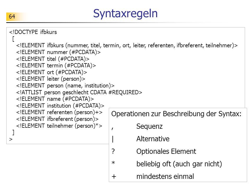 64 ] > Syntaxregeln Operationen zur Beschreibung der Syntax:,Sequenz |Alternative ?Optionales Element *beliebig oft (auch gar nicht) +mindestens einma