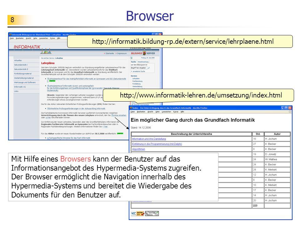 9 Browser http://www.informatik-lehren.de/umsetzung/index.html http://informatik.bildung-rp.de/extern/service/lehrplaene.html Die Dokumente eines Hypermedia-Systems können auf verschiedenen Rechnern, die über die gesamte Welt verteilt sind, gespeichert sein.