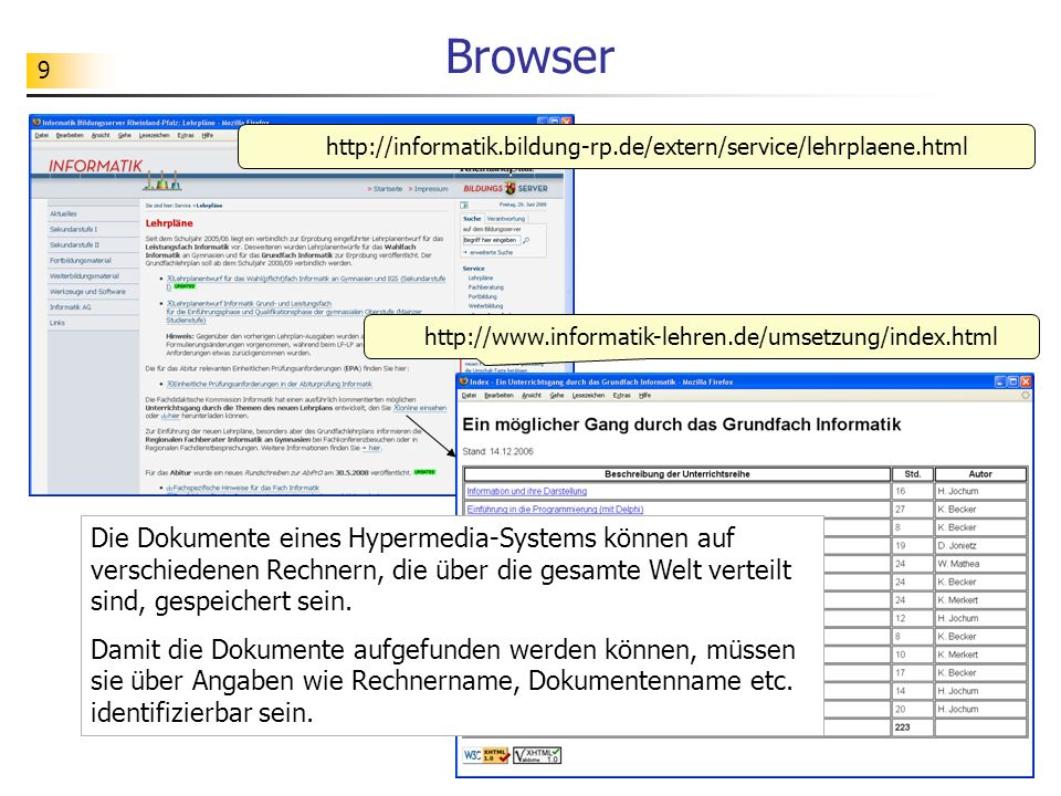 10 URL – Uniform Resource Locator http://www.informatik-lehren.de/umsetzung/index.html http Protokoll – Vereinbarungen über den geordneten Ablauf der Kommunikation www.informatik-lehren.de Rechnername – identifiziert den Rechner, auf dem das Dokument bereitgestellt wird umsetzung/index.html Dokumentenname – beschreibt, (in welchem Verzeichnis und) in welcher Datei das Dokument auf dem Rechner zu finden ist Ein Dokument wird im WWW mit Hilfe einer sog.