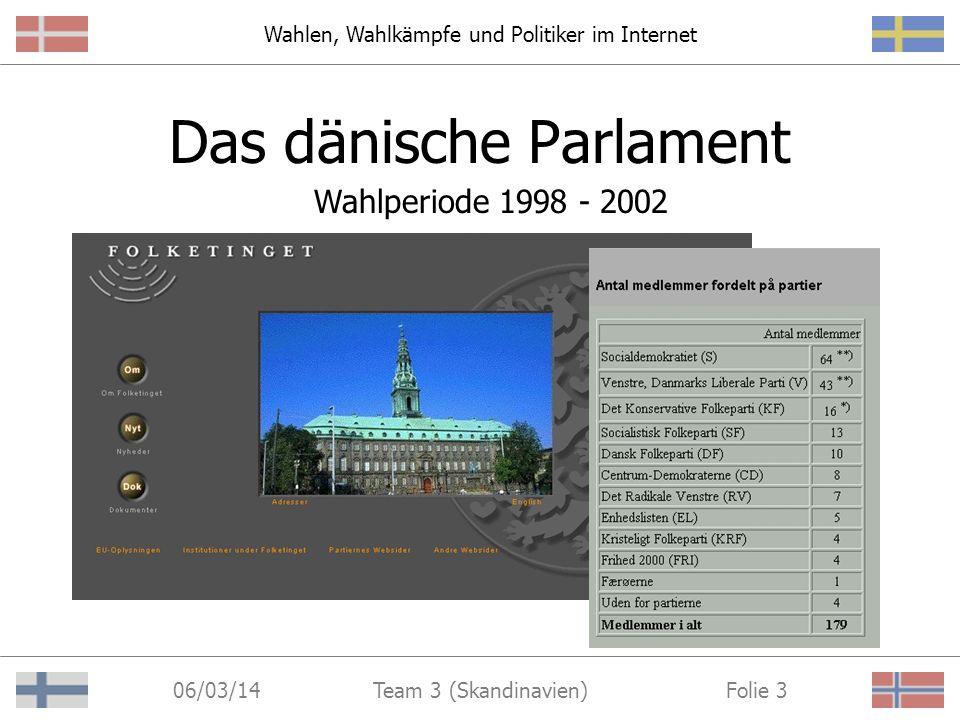 Wahlen, Wahlkämpfe und Politiker im Internet 06/03/14 Folie 3Team 3 (Skandinavien) Das dänische Parlament Wahlperiode 1998 - 2002