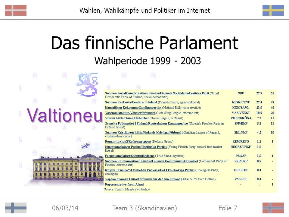 Wahlen, Wahlkämpfe und Politiker im Internet 06/03/14 Folie 7Team 3 (Skandinavien) Das finnische Parlament Wahlperiode 1999 - 2003