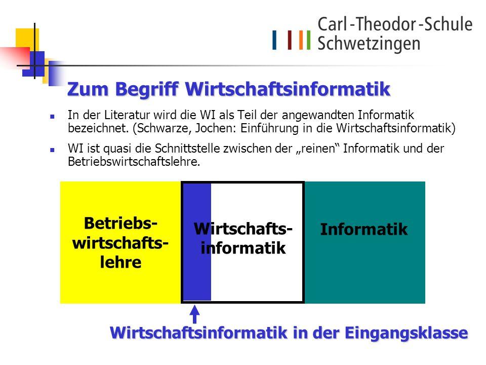 Zum Begriff Wirtschaftsinformatik In der Literatur wird die WI als Teil der angewandten Informatik bezeichnet. (Schwarze, Jochen: Einführung in die Wi