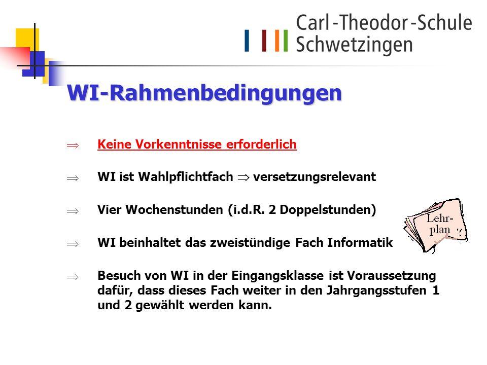 WI-Rahmenbedingungen Keine Vorkenntnisse erforderlich WI ist Wahlpflichtfach versetzungsrelevant Vier Wochenstunden (i.d.R. 2 Doppelstunden) WI beinha