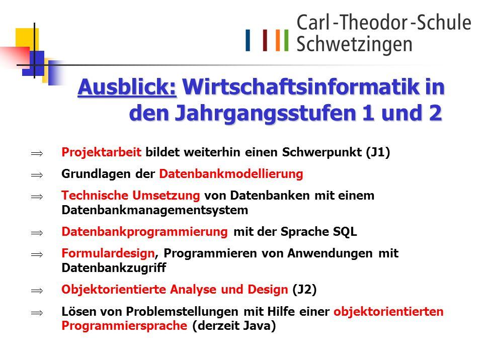 Projektarbeit bildet weiterhin einen Schwerpunkt (J1) Grundlagen der Datenbankmodellierung Technische Umsetzung von Datenbanken mit einem Datenbankman