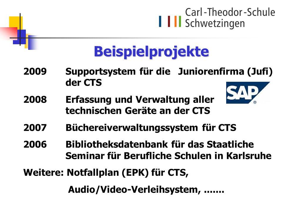 2009Supportsystem für die Juniorenfirma (Jufi) der CTS 2008 Erfassung und Verwaltung aller technischen Geräte an der CTS 2007Büchereiverwaltungssystem