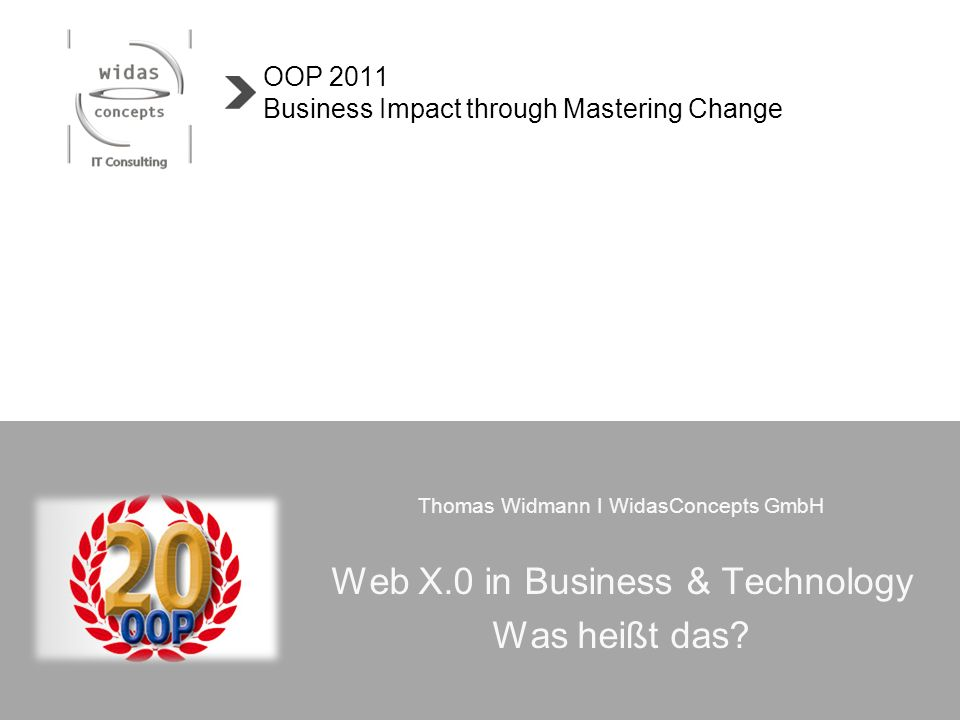 Thomas Widmann I WidasConcepts GmbH Web X.0 in Business & Technology Was heißt das? OOP 2011 Business Impact through Mastering Change