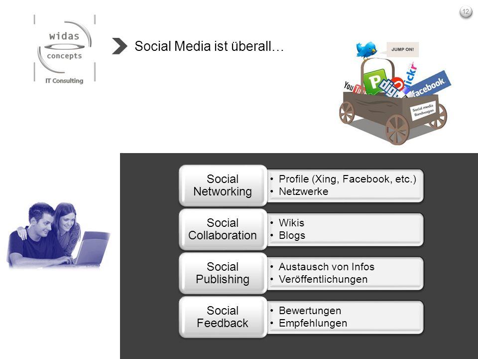 12 Social Media ist überall… Profile (Xing, Facebook, etc.) Netzwerke Social Networking Wikis Blogs Social Collaboration Austausch von Infos Veröffent