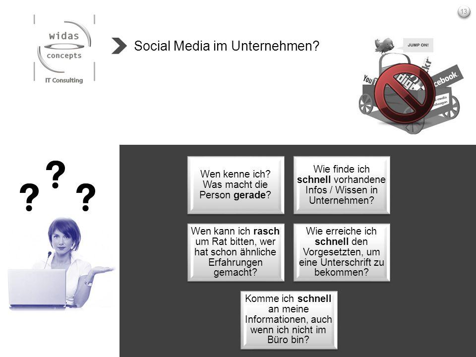 13 Social Media im Unternehmen? Wen kenne ich? Was macht die Person gerade? Wie finde ich schnell vorhandene Infos / Wissen in Unternehmen? Wen kann i