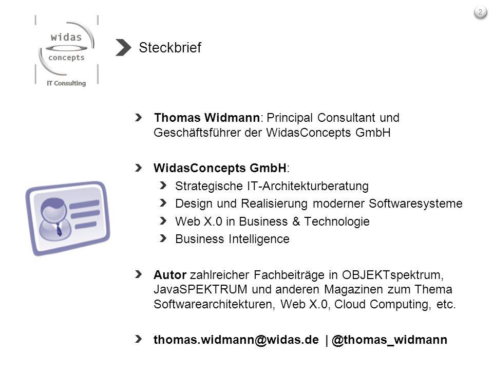 2 Steckbrief Thomas Widmann: Principal Consultant und Geschäftsführer der WidasConcepts GmbH WidasConcepts GmbH: Strategische IT-Architekturberatung D