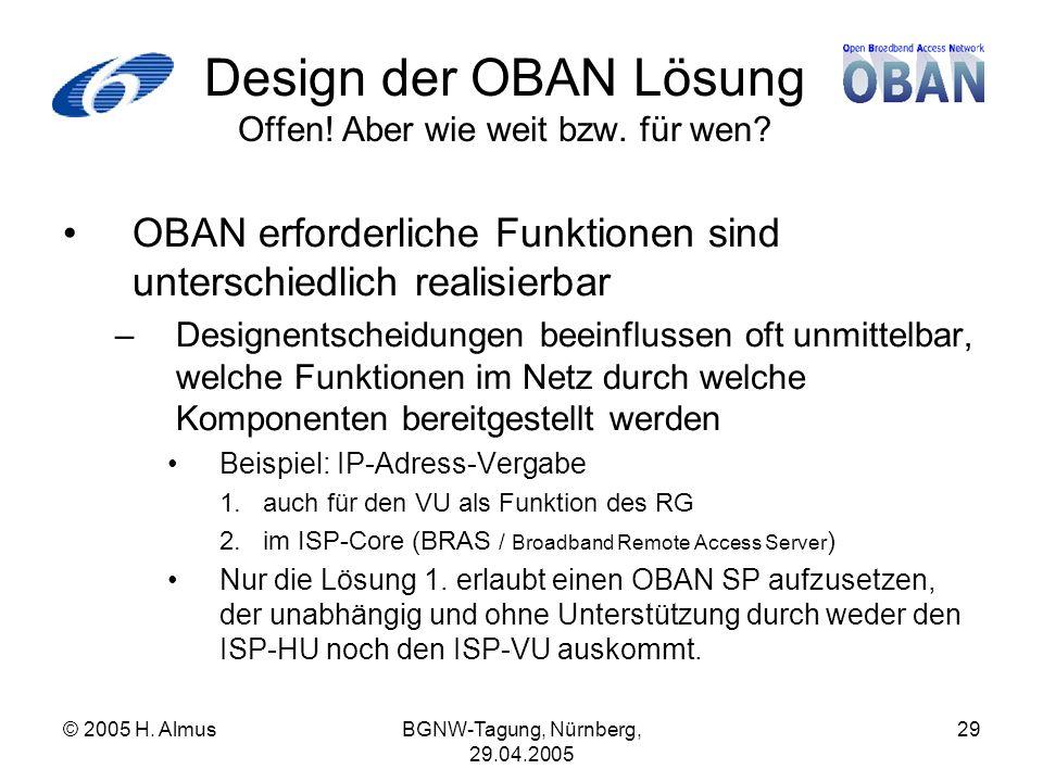 © 2005 H. AlmusBGNW-Tagung, Nürnberg, 29.04.2005 29 Design der OBAN Lösung Offen.