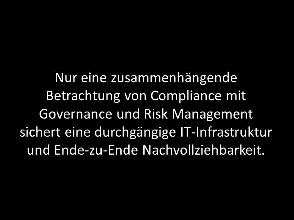 Nur eine zusammenhängende Betrachtung von Compliance mit Governance und Risk Management sichert eine durchgängige IT-Infrastruktur und Ende-zu-Ende Na