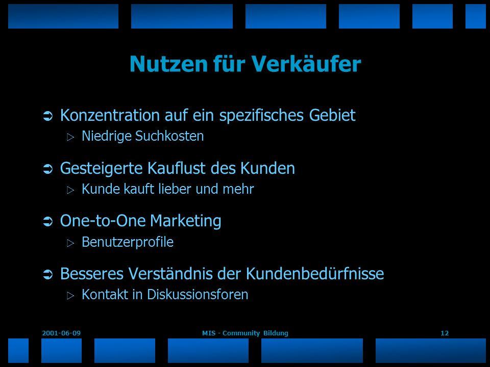 2001-06-09MIS - Community Bildung12 Nutzen für Verkäufer Konzentration auf ein spezifisches Gebiet Niedrige Suchkosten Gesteigerte Kauflust des Kunden