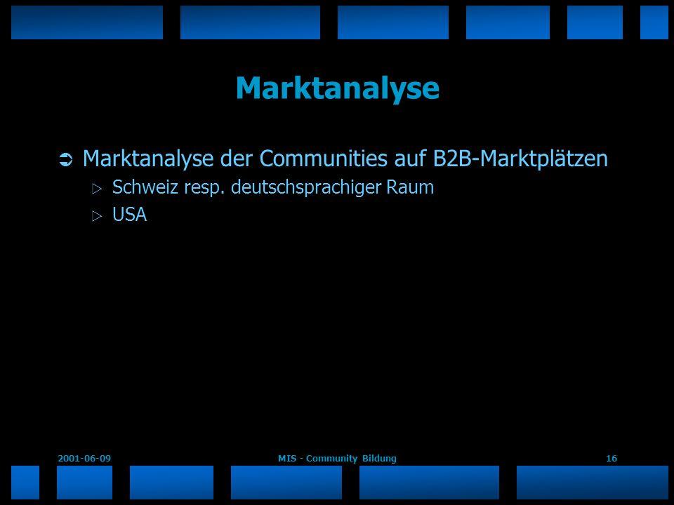 2001-06-09MIS - Community Bildung16 Marktanalyse Marktanalyse der Communities auf B2B-Marktplätzen Schweiz resp. deutschsprachiger Raum USA
