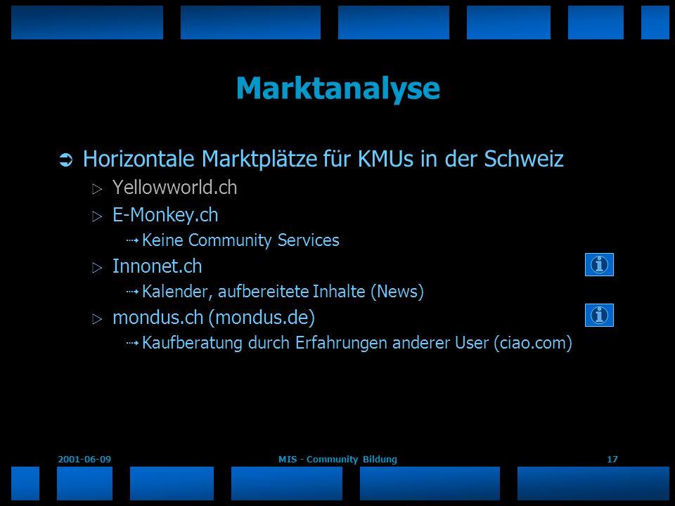 2001-06-09MIS - Community Bildung17 Marktanalyse Horizontale Marktplätze für KMUs in der Schweiz Yellowworld.ch E-Monkey.ch Keine Community Services I
