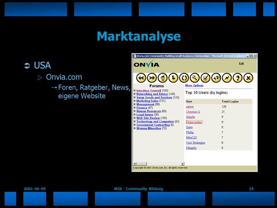 2001-06-09MIS - Community Bildung19 Marktanalyse USA Onvia.com Foren, Ratgeber, News, eigene Website