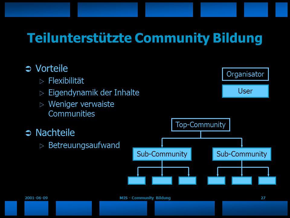 2001-06-09MIS - Community Bildung27 Teilunterstützte Community Bildung Vorteile Flexibilität Eigendynamik der Inhalte Weniger verwaiste Communities Na