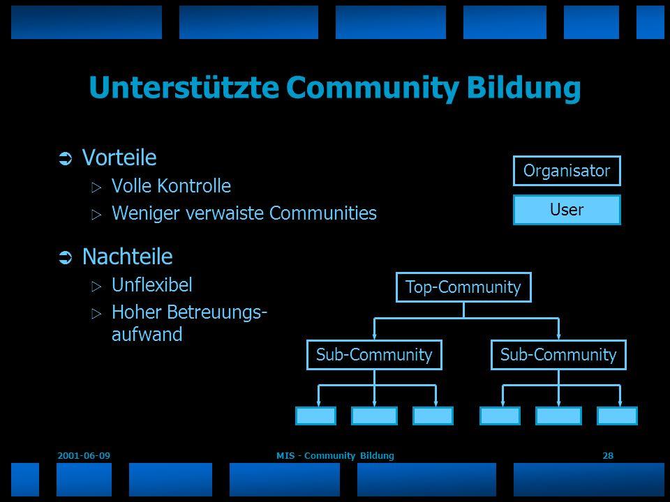 2001-06-09MIS - Community Bildung28 Unterstützte Community Bildung Vorteile Volle Kontrolle Weniger verwaiste Communities Nachteile Unflexibel Hoher B