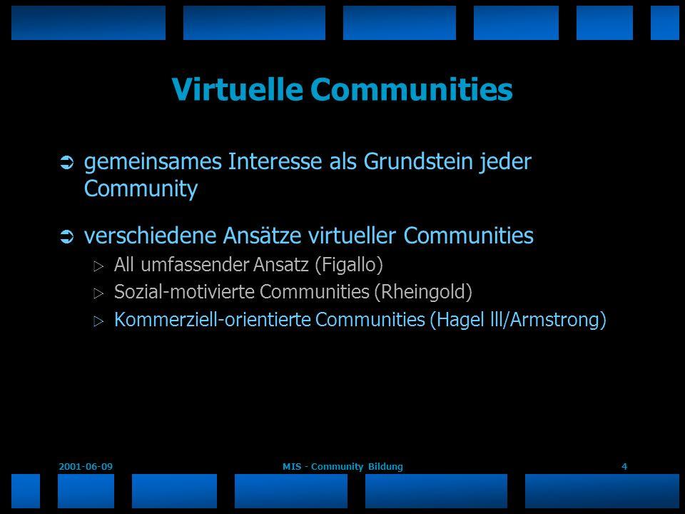 2001-06-09MIS - Community Bildung4 Virtuelle Communities gemeinsames Interesse als Grundstein jeder Community verschiedene Ansätze virtueller Communit