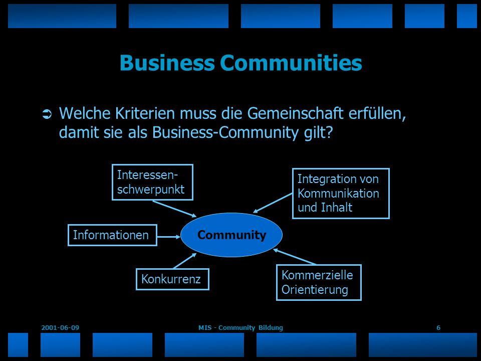 2001-06-09MIS - Community Bildung6 Business Communities Welche Kriterien muss die Gemeinschaft erfüllen, damit sie als Business-Community gilt? Commun