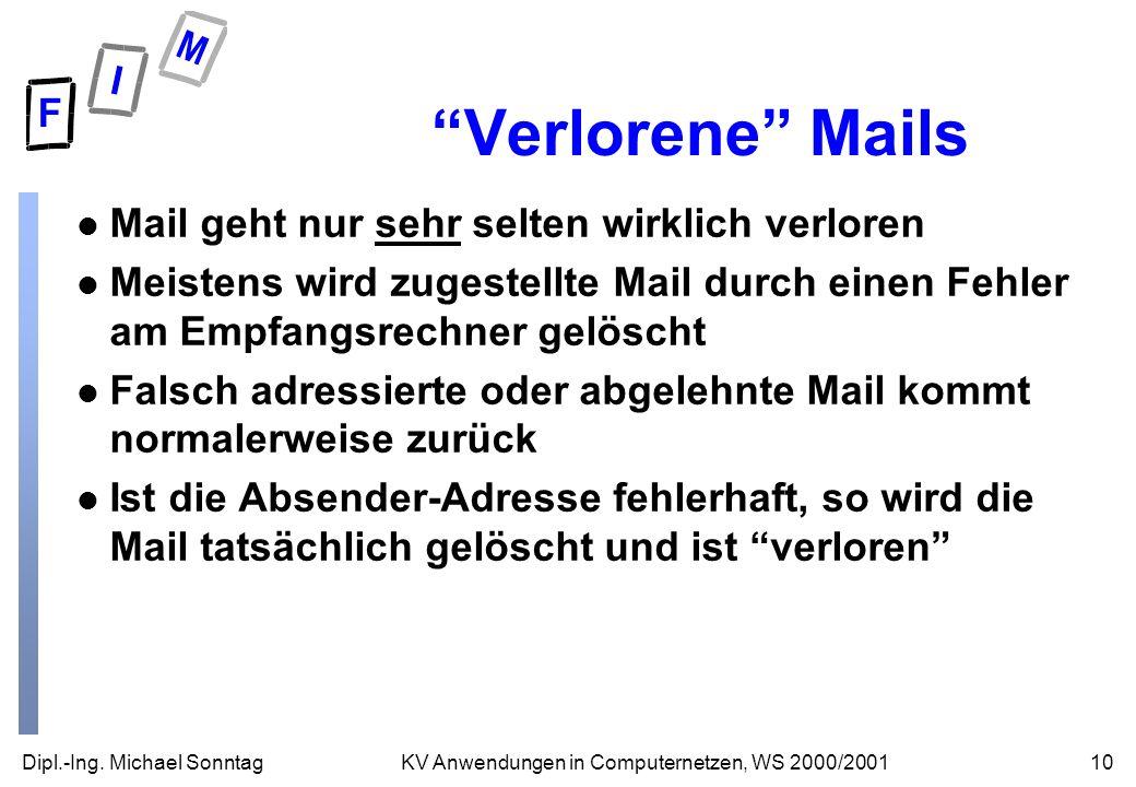 Dipl.-Ing. Michael Sonntag10KV Anwendungen in Computernetzen, WS 2000/2001 Verlorene Mails l Mail geht nur sehr selten wirklich verloren l Meistens wi