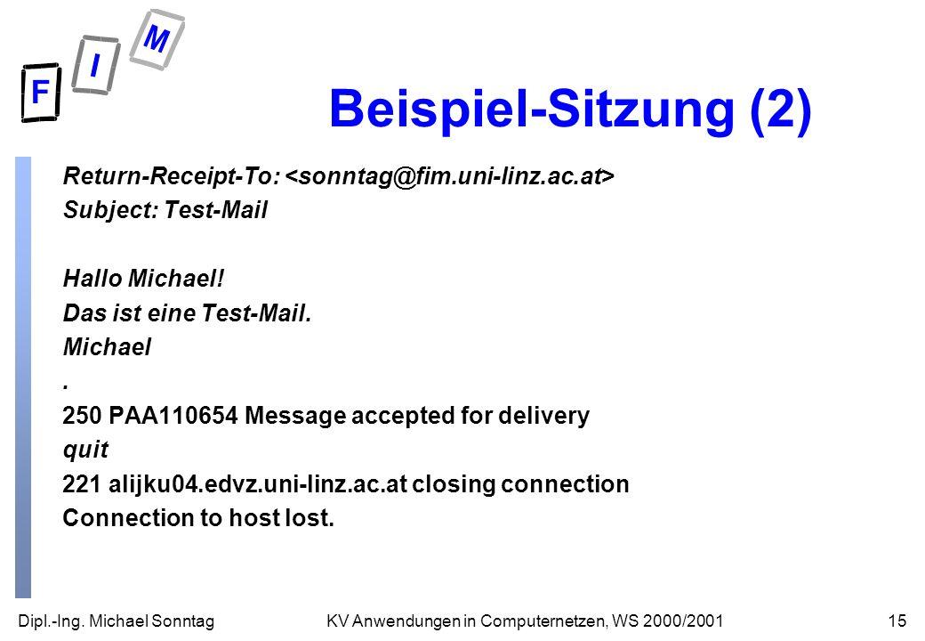 Dipl.-Ing. Michael Sonntag15KV Anwendungen in Computernetzen, WS 2000/2001 Beispiel-Sitzung (2) Return-Receipt-To: Subject: Test-Mail Hallo Michael! D