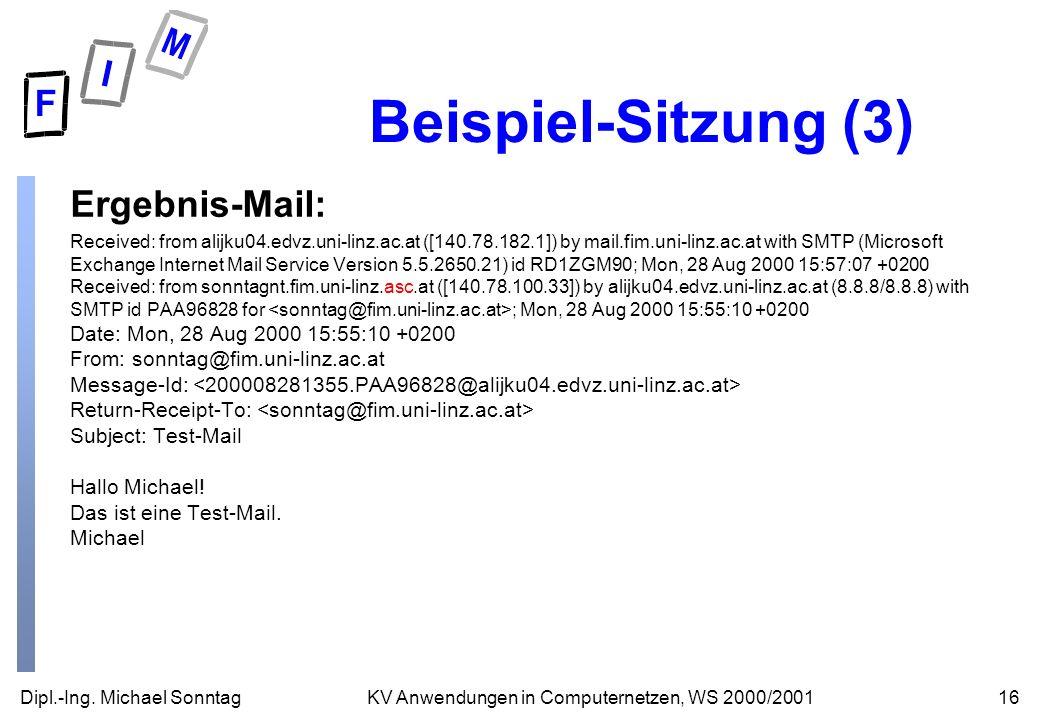 Dipl.-Ing. Michael Sonntag16KV Anwendungen in Computernetzen, WS 2000/2001 Beispiel-Sitzung (3) Ergebnis-Mail: Received: from alijku04.edvz.uni-linz.a