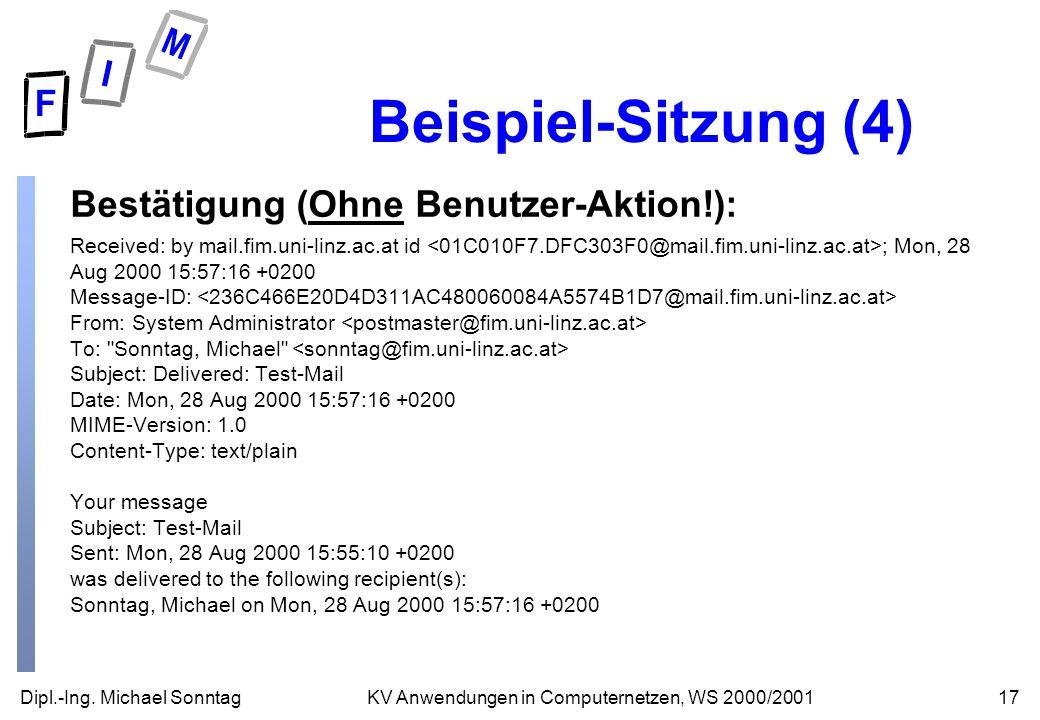 Dipl.-Ing. Michael Sonntag17KV Anwendungen in Computernetzen, WS 2000/2001 Beispiel-Sitzung (4) Bestätigung (Ohne Benutzer-Aktion!): Received: by mail