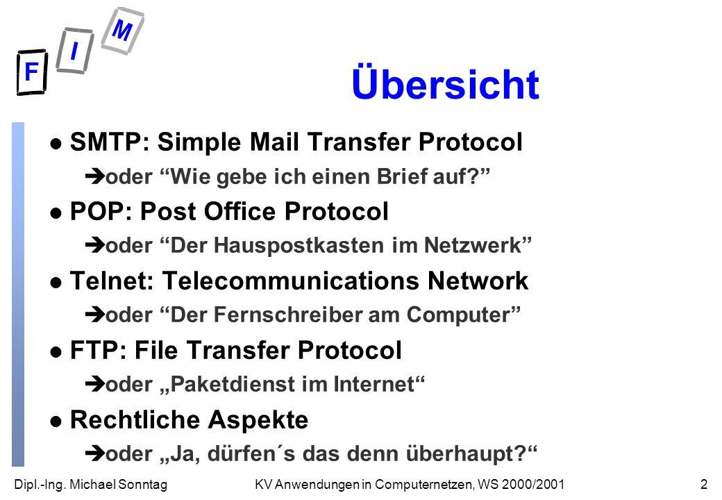 Dipl.-Ing. Michael Sonntag2KV Anwendungen in Computernetzen, WS 2000/2001 Übersicht l SMTP: Simple Mail Transfer Protocol èoder Wie gebe ich einen Bri