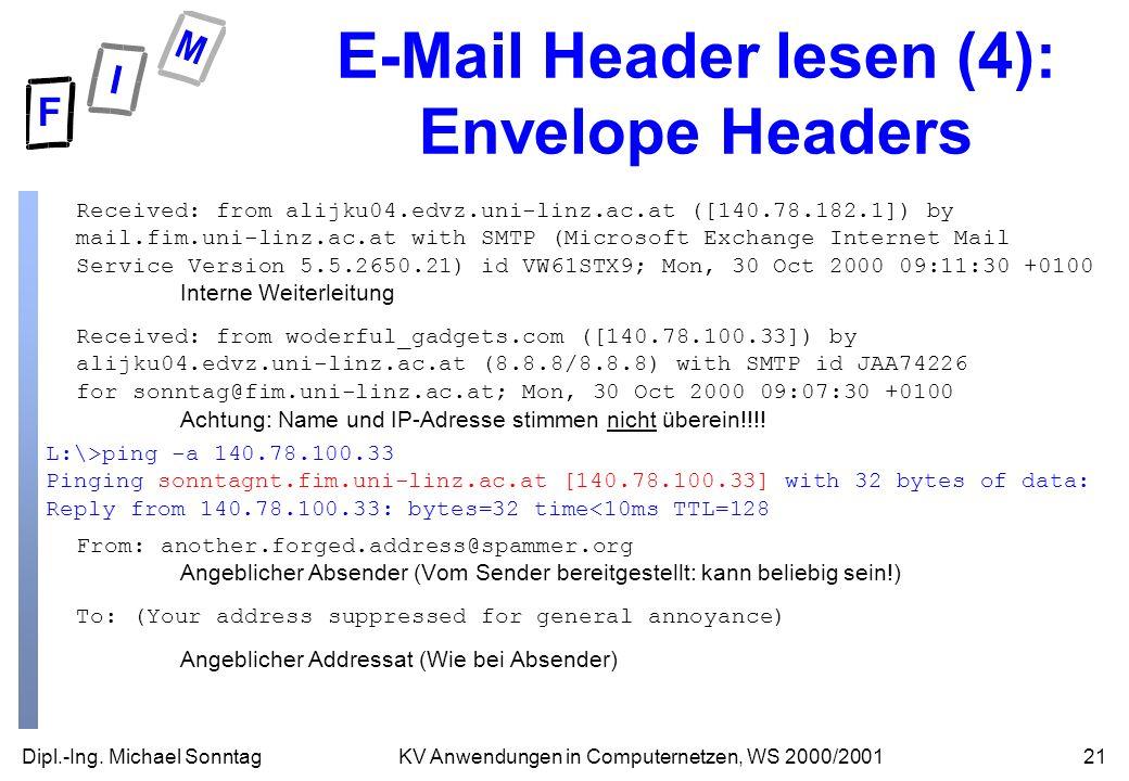 Dipl.-Ing. Michael Sonntag21KV Anwendungen in Computernetzen, WS 2000/2001 E-Mail Header lesen (4): Envelope Headers Received: from alijku04.edvz.uni-