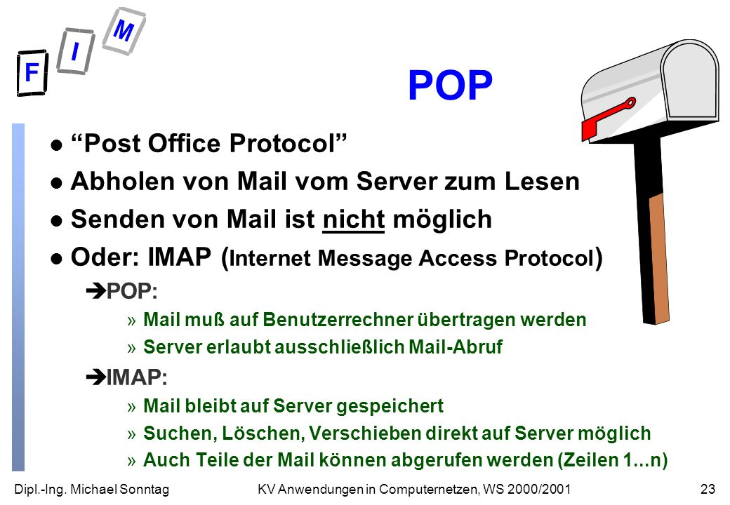Dipl.-Ing. Michael Sonntag23KV Anwendungen in Computernetzen, WS 2000/2001 POP l Post Office Protocol l Abholen von Mail vom Server zum Lesen l Senden