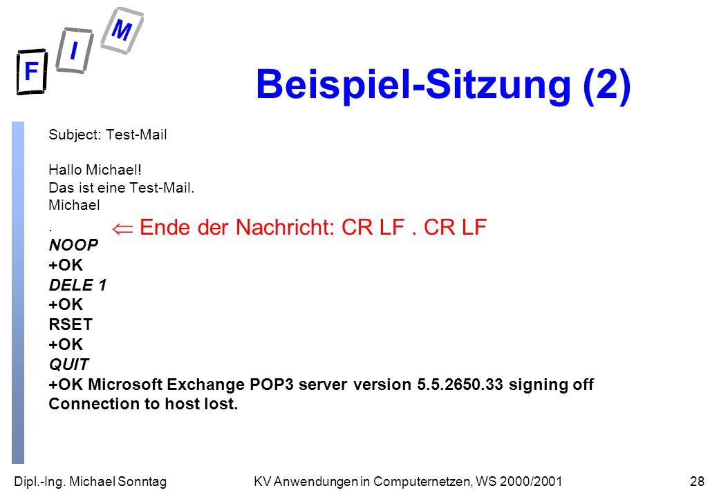 Dipl.-Ing. Michael Sonntag28KV Anwendungen in Computernetzen, WS 2000/2001 Beispiel-Sitzung (2) Subject: Test-Mail Hallo Michael! Das ist eine Test-Ma