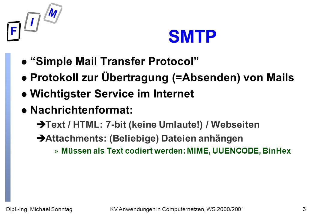 Dipl.-Ing. Michael Sonntag3KV Anwendungen in Computernetzen, WS 2000/2001 SMTP l Simple Mail Transfer Protocol l Protokoll zur Übertragung (=Absenden)