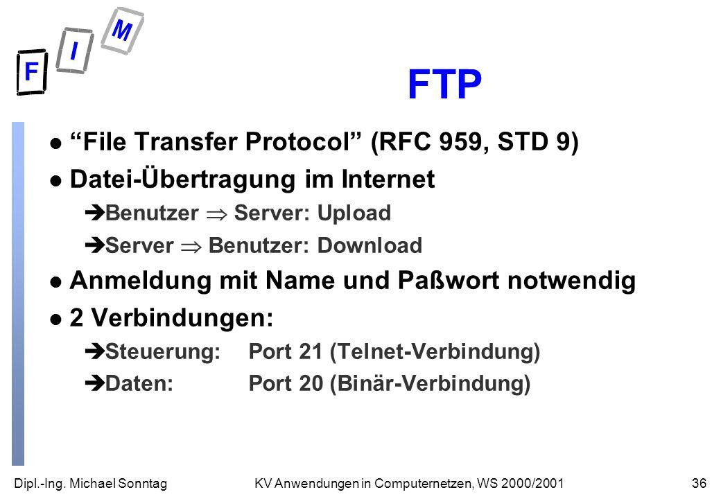 Dipl.-Ing. Michael Sonntag36KV Anwendungen in Computernetzen, WS 2000/2001 FTP l File Transfer Protocol (RFC 959, STD 9) l Datei-Übertragung im Intern