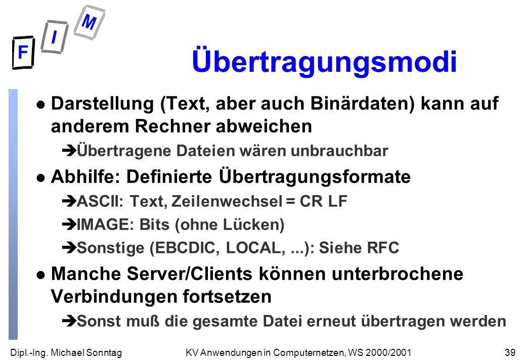 Dipl.-Ing. Michael Sonntag39KV Anwendungen in Computernetzen, WS 2000/2001 Übertragungsmodi l Darstellung (Text, aber auch Binärdaten) kann auf andere