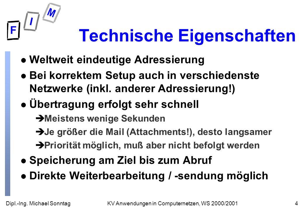 Dipl.-Ing. Michael Sonntag4KV Anwendungen in Computernetzen, WS 2000/2001 Technische Eigenschaften l Weltweit eindeutige Adressierung l Bei korrektem