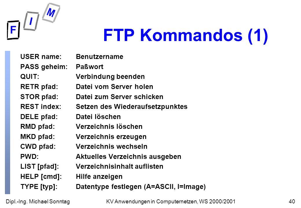 Dipl.-Ing. Michael Sonntag40KV Anwendungen in Computernetzen, WS 2000/2001 FTP Kommandos (1) USER name:Benutzername PASS geheim:Paßwort QUIT:Verbindun