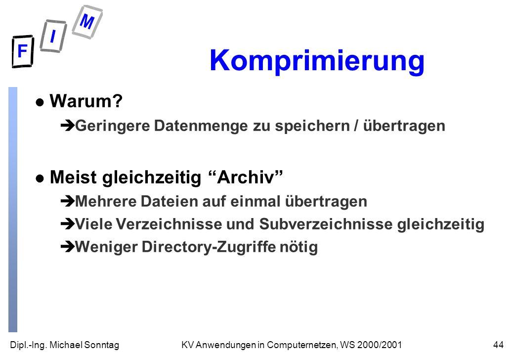 Dipl.-Ing. Michael Sonntag44KV Anwendungen in Computernetzen, WS 2000/2001 Komprimierung l Warum? èGeringere Datenmenge zu speichern / übertragen l Me