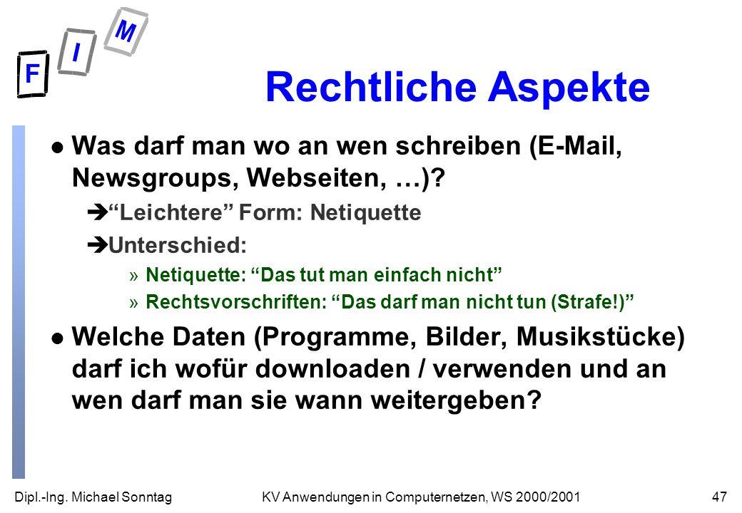 Dipl.-Ing. Michael Sonntag47KV Anwendungen in Computernetzen, WS 2000/2001 Rechtliche Aspekte l Was darf man wo an wen schreiben (E-Mail, Newsgroups,