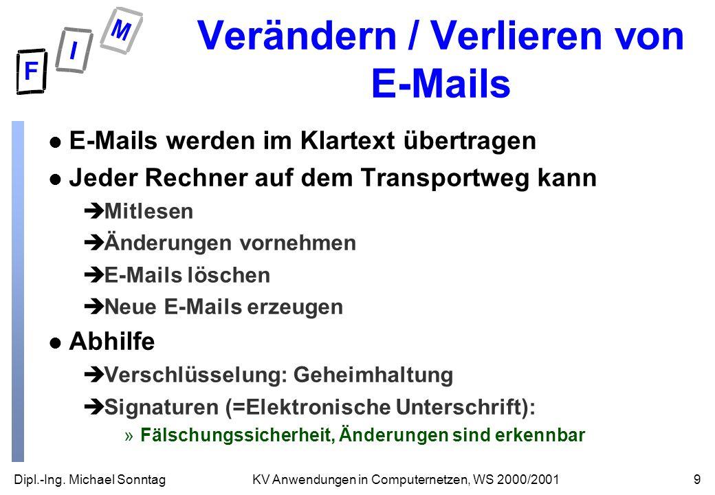 Dipl.-Ing. Michael Sonntag9KV Anwendungen in Computernetzen, WS 2000/2001 Verändern / Verlieren von E-Mails l E-Mails werden im Klartext übertragen l